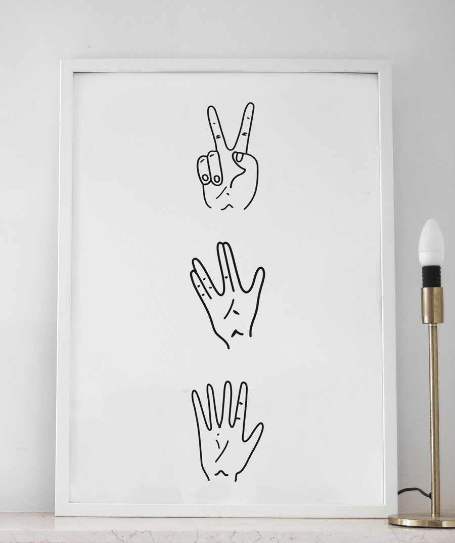 Hand Slang an Illustration Art Print - Poster by The Printable Cøncept hand signs
