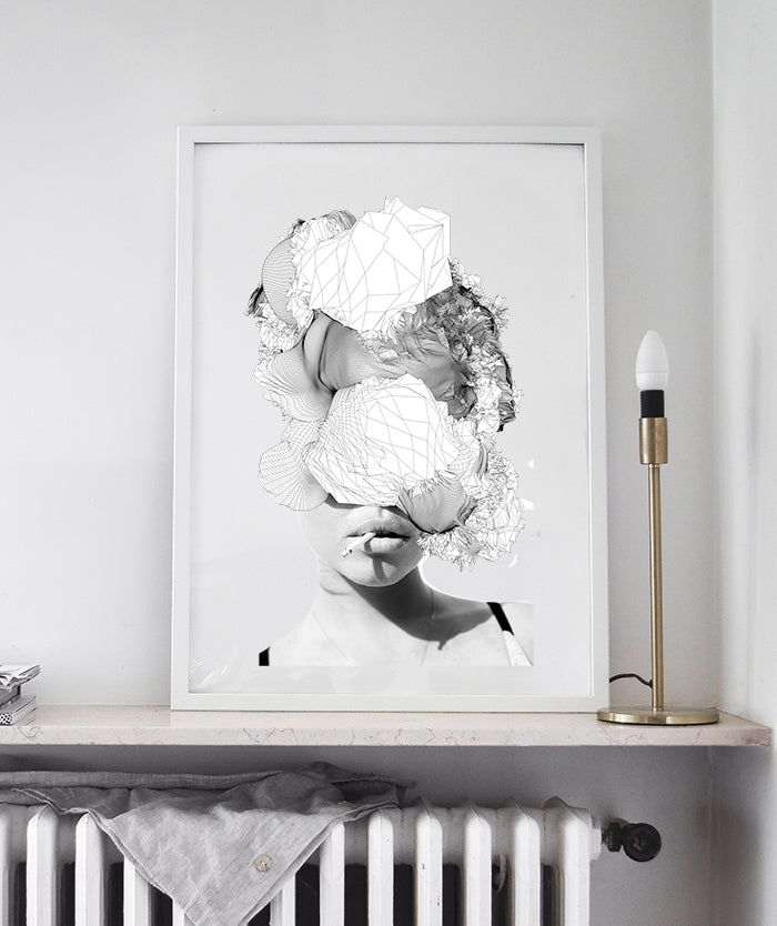 Lorelei | Woman digital abstract collage, Modern Scandinavian Poster black and white minimalist art print
