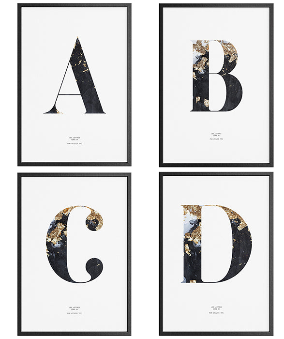 Letters Alphabet ART PRINTS Monogram typography Marble Initials Poster