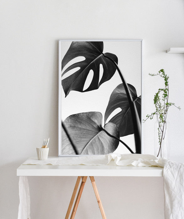 Monstera Deliciosa |Tropical leaves, exotic jungalow Printable Poster Swiss cheese plant leaves poster