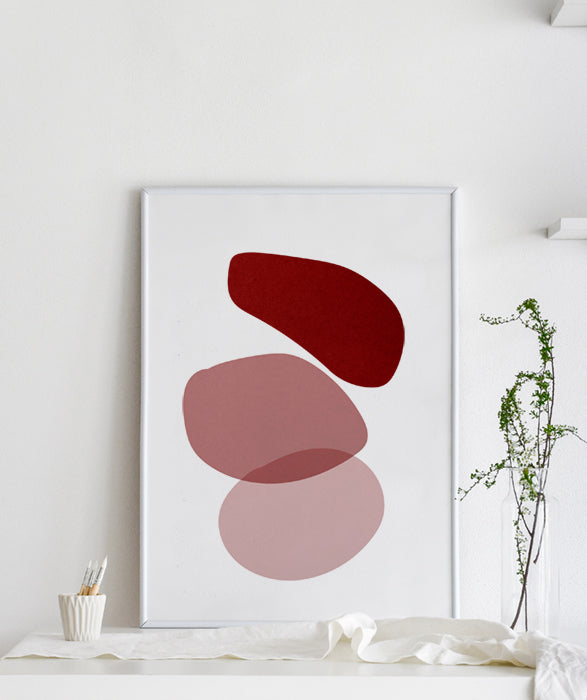 pink red gradient abstract artwork collage printable wall art
