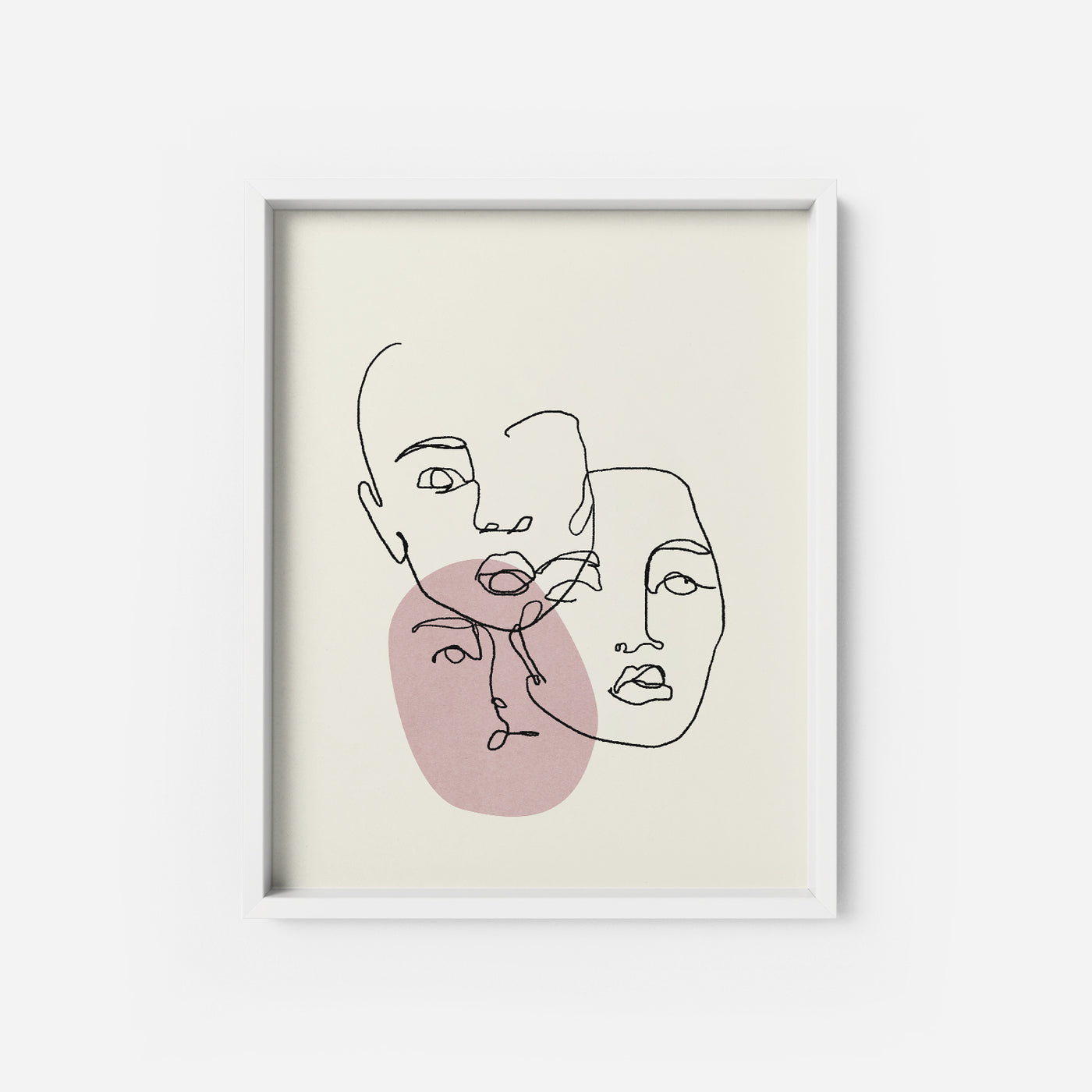 Pink Faces lines Art Print Poster - THE PRINTABLE CONCEPT - Printable art posterDigital Download -