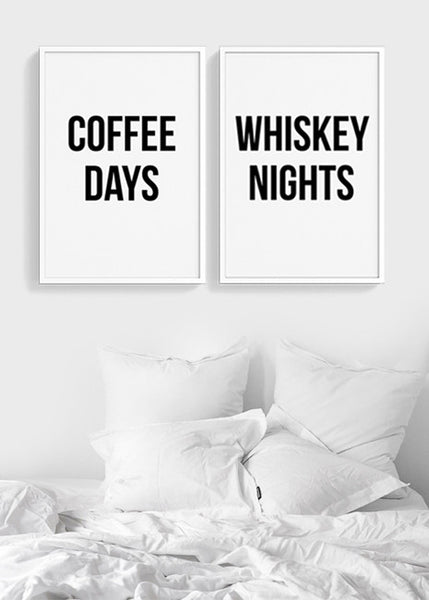 Coffee Days Whiskey Nights - THE PRINTABLE CONCEPT - Printable art posterDigital Download -