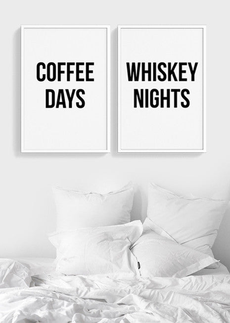Coffee Days Whiskey Nights | Set of two printable posters Bedroom Art
