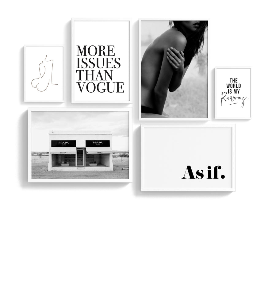 Fashion gallery wall Bundle | Printable wall art & Fashion Poster Gallery wall set black and white monochrome