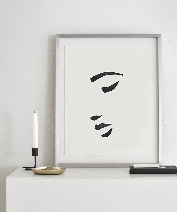 Croquis 1 I Minimalist Woman's face sketch drawing Scandinavian Poster