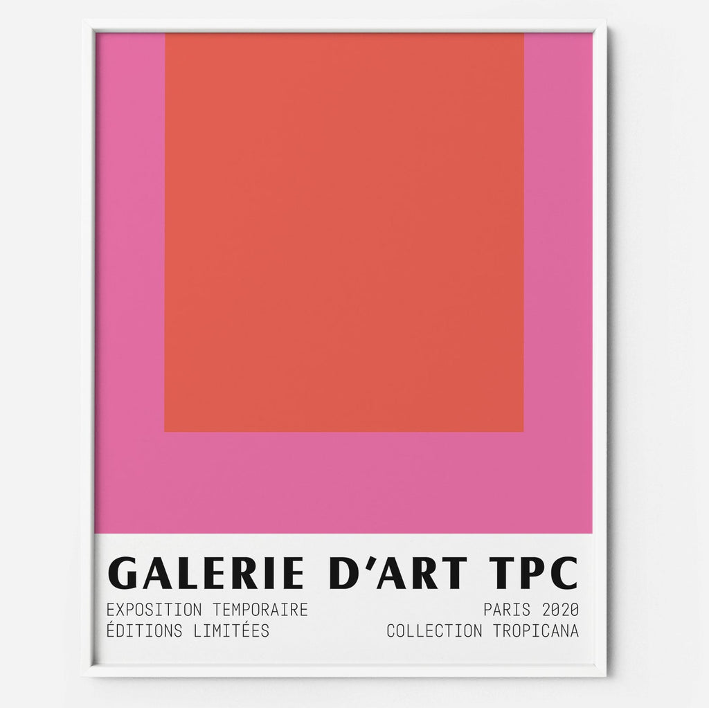 Color Block 1 pink red art print poster