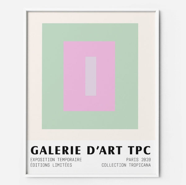 Color Block 15 pink green pastel midcentury poster