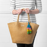 Bride Straw Tote with Colorful Tassel