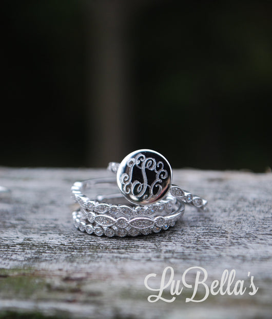 Monogram Stacklable Ring in Sterling Silver-Monogrammed Stackable Ring-Engraved Stackable Ring-Fast Shipping