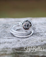 Engraved Sterling Silver Stackable Ring-Monogram Stackable Ring with Cubic Zirconias-FAST SHIPPING!!