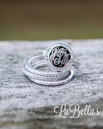 Engraved Sterling Silver Stackable Ring with CZ's