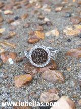 Monogram Sterling Silver Ring with Decorative Cubic Zirconia Band, Engraved Ring with Cubic Zirconia Border
