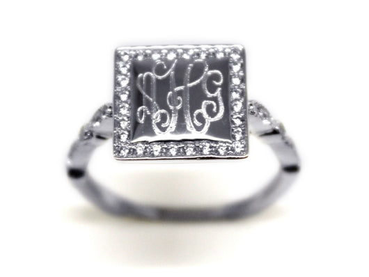 Monoram Square Border Ring with Cubic Zirconias-Engraved Square Ring