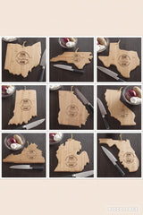 Personalized Home State Cutting Board-Engraved bamboo cutting board-Choose your State