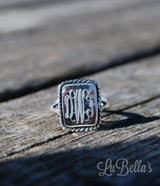 Sterling Silver Monogrammed Rectangular Ring with Rope Border-Monogram Ring-Engraved Ring