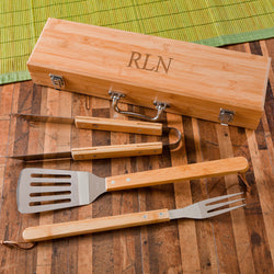 Personalized Grilling Set, Grilling BBQ Set with Bamboo Case-Fast Shipping!