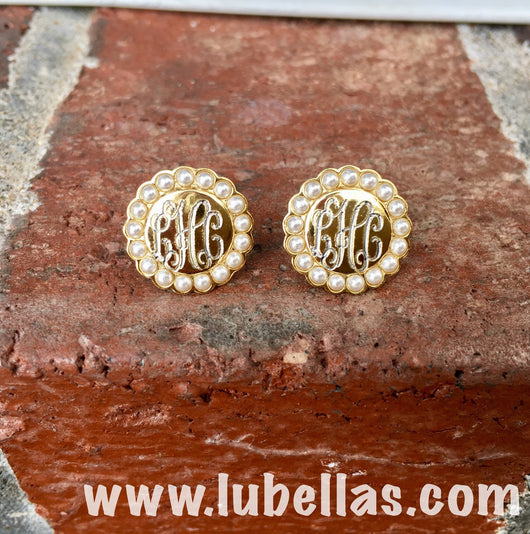 Engraved Pearl Border Earrings