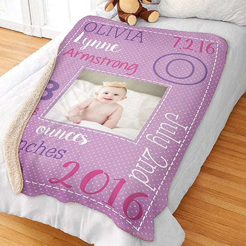 Personalized Sherpa Baby Blanket-Baby Stat Blanket-Baby Photo Blanket
