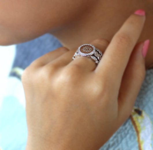 Engraved Stackable Sterling Silver Ring Set with Cubic Zirconias