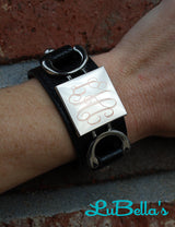 Personalized Leather Monogram Cuff Bracelet with SQUARE Disk