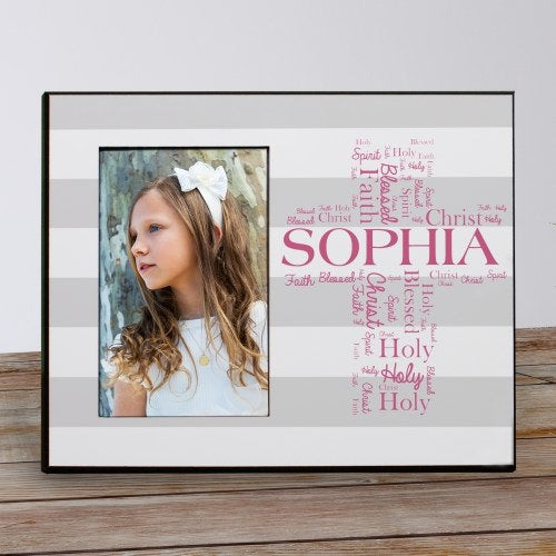 Personalized First Communion Cross Picture Frame-Personalized First Communion Frame
