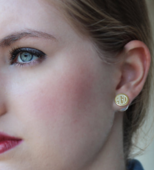 Pearl Back Monogram Earrings-360 earring-Silver or Gold