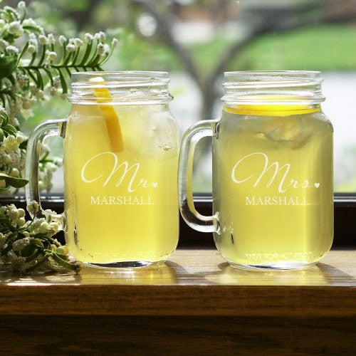 Mr. and Mrs. Personalized Mason Jar Set
