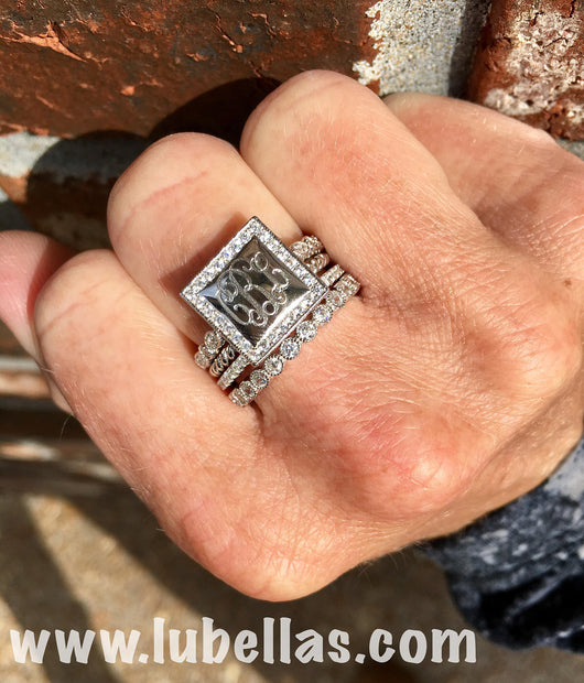Engraved Sterling Silver Stackable Ring Set with square face and Cubic Zirconia Border
