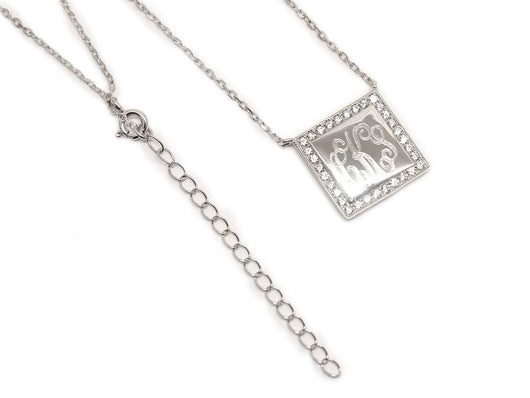 Engraved Sterling Silver Necklace with Cubic Zirconia square