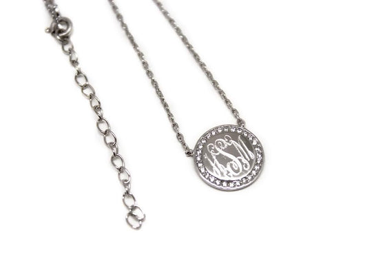 Monogram Circle Border Necklace with Cubic Zirconias-Engraved Necklace-Gold Plated or Sterling Silver