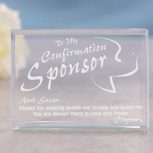 Personalized Confirmation Sponsor Keepsake-Engraved Confirmation Sponsor paperweight