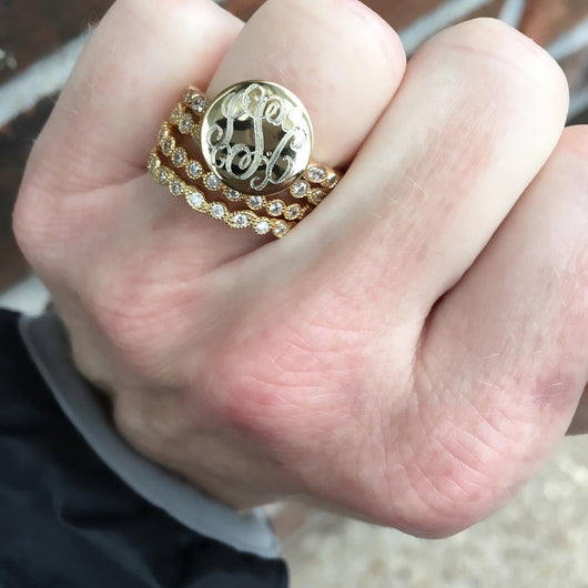 Monogram Stacklable Ring in Gold Plating over Sterling Silver-Monogrammed Stackable Ring-Engraved Stackable Ring-Fast Shipping