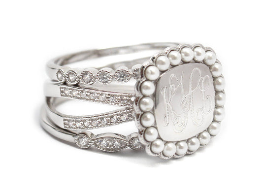 Engraved Sterling Silver Tiple Band Ring-Mongoram Cubic Zirconia and Pearl Ring