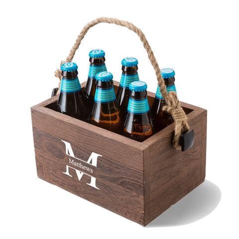 Personalized Beer Caddy with Rope Handle-Custom Beer Caddy-Monogram Beer Caddy