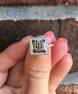 Monogram Square Border Ring with Cubic Zirconias-Engraved Square Ring-Gold Plated or Sterling Silver
