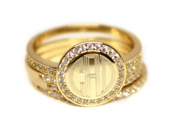 Engraved Gold Plated Stackable Ring with Cubic Zirconias