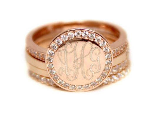 Engraved Rose Gold Plated Stackable Ring-Monogram Stackable Ring with Cubic Zirconias-FAST SHIPPING!!