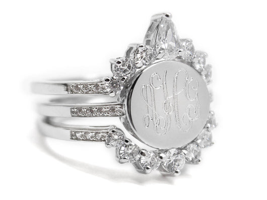 Monogram Stackable Ring-Tiara Shaped Sterling Silver Ring, Engraved Ring with Cubic Zirconia Border