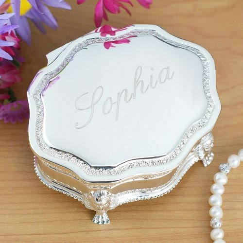 Engraved Silver Jewelry box