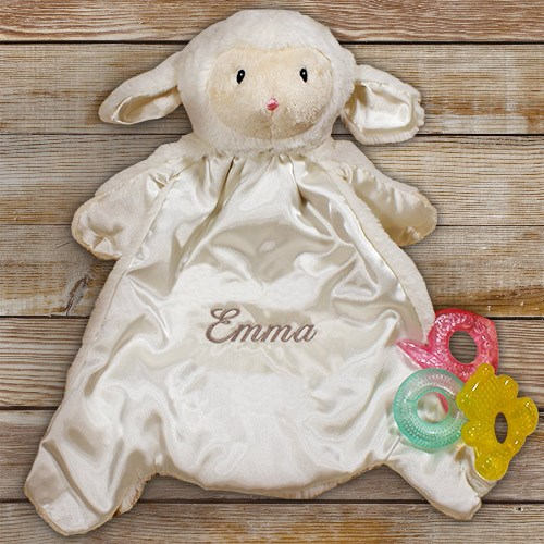 Personalized Baby Lamb Blanket-Embroidered Lamb Blanket-HuggyBuddy Lamb Blanket