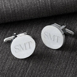 Engraved Cuff Links, Classic Round Cuff Links, Modern Square Cuff Links