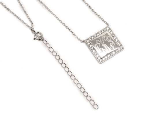 Engraved Necklace with Cubic Zirconia Square Border in Gold-Monogram Sterling Silver Square Necklace