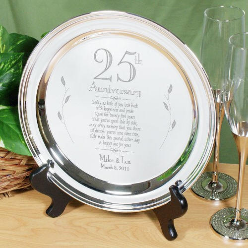 Engraved Wedding Anniversary Silver Plate