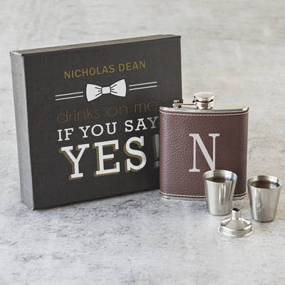 Personalized Leather Wrapped Flask Set-Drinks on Me Flask Set-Groomsman Flask Set