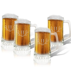 Monogram Antler Glass Beer Mug Set