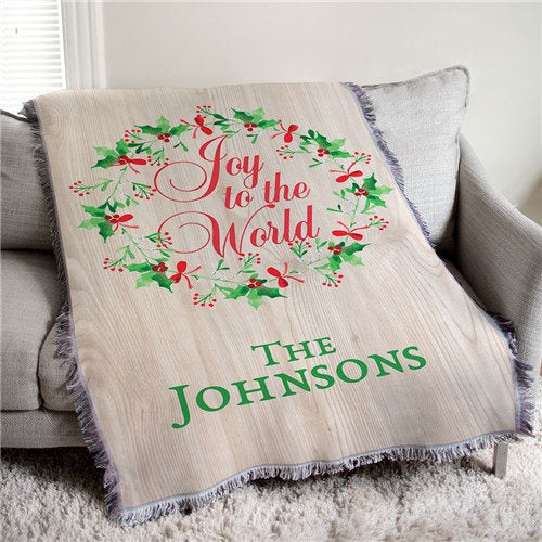 Personalized Joy To The World Throw-Personalized Christmas Throw-Holiday Throw