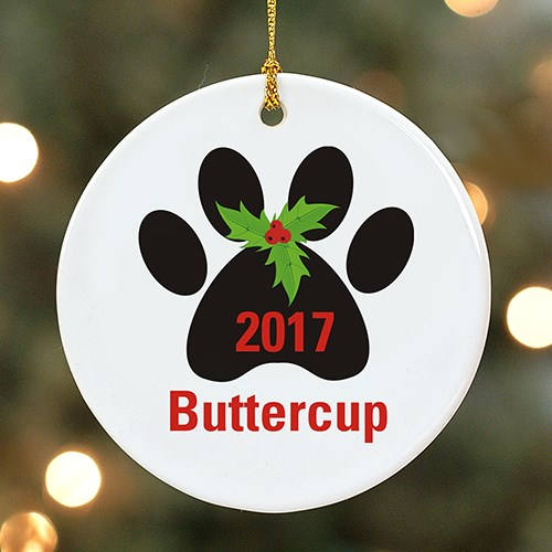 Personalized Paw Print Ornament-Personalized Christmas Paw Ornament
