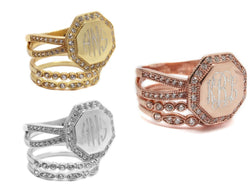 Monogram Octagon Stackable Ring-Stackable ring set-Engraved Ring set, Rose Gold, Gold, Silver