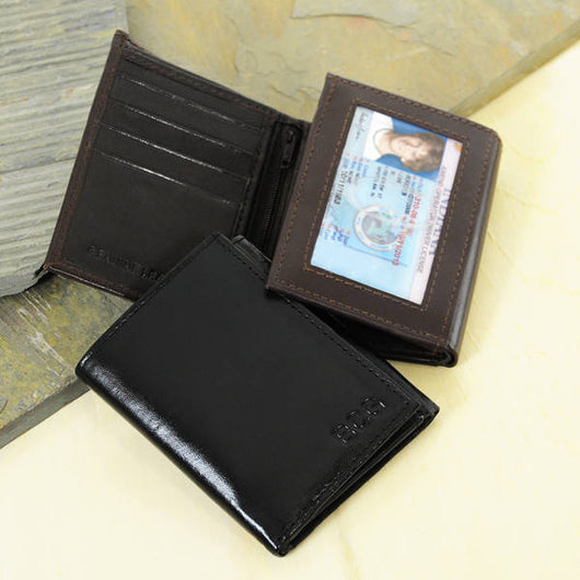 Personalized Leather Wallet-Oxford Tri-fold Genuine Leather Wallet